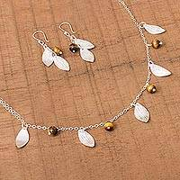 Tiger's eye jewelry set, 'Acorns and Leaves' (set of 3) - Sterling Silver Leaves Tiger's Eye Necklace and Earrings Set