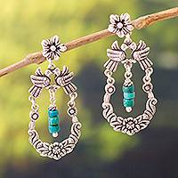 Chrysocolla dangle earrings, 'Nature's Sound' - Bird-Themed Chrysocolla Dangle Earrings from Peru