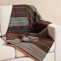 Alpaca blend throw, 'Andean Festivity in Espresso' - Colorful Striped Alpaca Blend Throw in Espresso from Peru