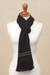 Alpaca blend scarf, 'Simplicity' - Black Alpaca Blend Scarf with Umber Stripes from Peru (image 2b) thumbail