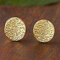 Gold plated sterling silver stud earrings, 'Magnetic Attraction' - Contemporary Gold Plated Sterling Silver Stud Earrings
