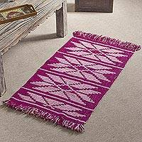Wool area rug, 'Pink Flowers' (2x3) - Geometric Floral Pattern Wool Area Rug from Peru (2x3)