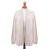 Alpaca blend cardigan, 'Comfortable Stroll in Ivory' - Ivory Long Sleeve Shawl Collar Alpaca Blend Knit Cardigan