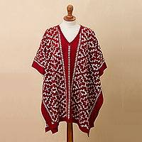 Reversible alpaca blend poncho, 'Lovely Composition in Crimson' - Reversible Geometric Alpaca Blend Poncho in Crimson