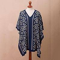 Reversible alpaca blend poncho, 'Lovely Composition in Indigo' - Reversible Geometric Alpaca Blend Poncho in Indigo from Peru