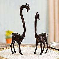 Wood sculptures, 'Mother Vicuña' (pair) - Mother and Child Vicuña Sculptures from Peru (Pair)