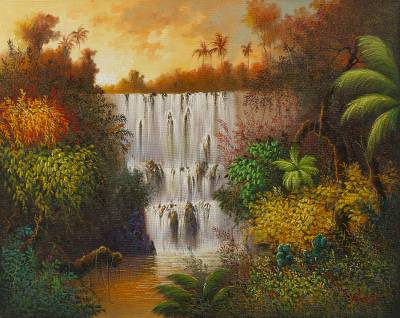 'Natural Spectacle' - Signed Impressionist Painting of a Peruvian Waterfall
