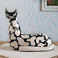 Ceramic sculpture, 'Abstract Cat' - Abstract Design Chulucanas-Style Ceramic Cat Sculpture