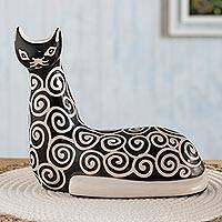 Ceramic sculpture, 'Spiral Cat' - Spiral Motif Chulucanas-Style Ceramic Cat Sculpture