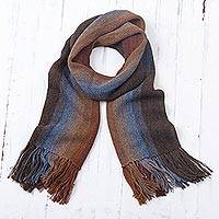 Men's 100% alpaca scarf, 'Outcropping Stripes' - Shades of Brown Burgundy and Blue 100% Alpaca Knit Scarf
