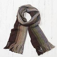 Men's 100% alpaca scarf, 'Forest Canopy Stripes' - Shades of Brown and Olive Green 100% Alpaca Knit Scarf