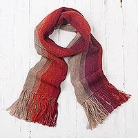 100% alpaca scarf, 'Mesa Stripes' - Shades of Brown Orange Berry 100% Alpaca Knit Scarf