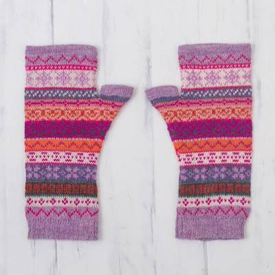 100% alpaca fingerless mitts, 'Inca Blooms' - Lilac and Fuchsia 100% Alpaca Knit Fingerless Mitts