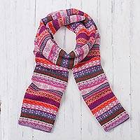 100% alpaca scarf, 'Inca Blooms' - Lilac and Fuchsia and White 100% Alpaca Knit Scarf