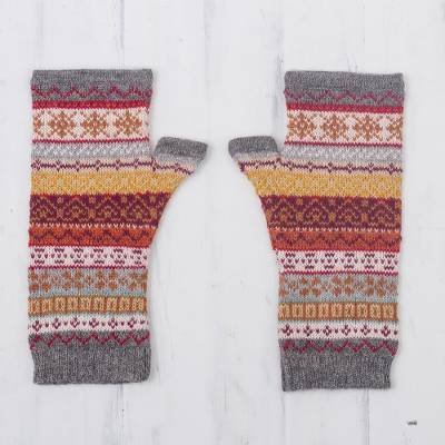 100% alpaca fingerless mitts, 'Inca Countryside' - Burnt Sienna Multicolor 100% Alpaca Knit Fingerless Mitts