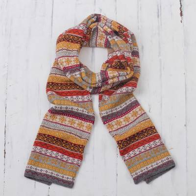 100% alpaca scarf, 'Inca Countryside' - Burnt Sienna and Pink and Grey 100% Alpaca Knit Scarf