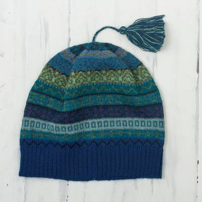 100% alpaca knit hat, 'Inca Skies' - Shades of Blue and Green 100% Alpaca Knit Hat with Tassel