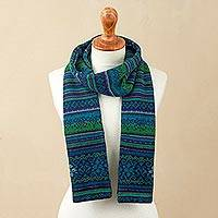 100% alpaca scarf, 'Blue Turquoise' - Blue and Green 100% Alpaca Wrap Scarf from Peru
