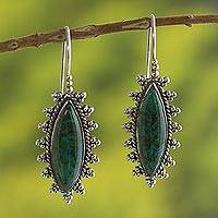 Chrysocolla drop earrings, 'Imperial Green' - Natural Chrysocolla Drop Earrings from Peru