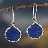 Natural leaf dangle earrings, 'Blue Leaf Drops' - Andean Handmade Sterling Silver Blue Leaf Earrings