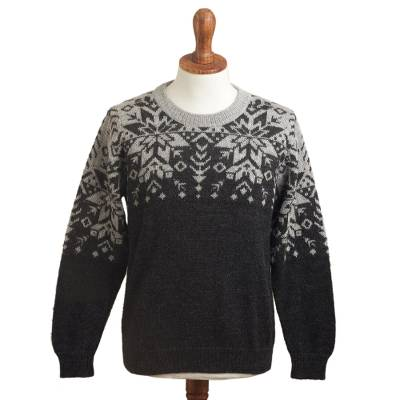Men's 100% alpaca wool sweater, 'Inca Snowflake' - Men's Grey Alpaca Wool Snowflake Motif Sweater