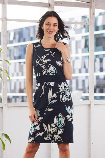 Cotton knit sheath dress, 'Lima Lady' - Soft Cotton Jacquard Knit Sheath Dress in Navy Floral
