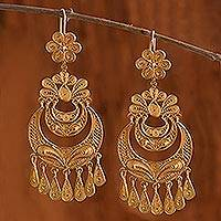 Gold plated chandelier earrings, 'Flirtatious Flowers' - Unique 18k Gold Plated Floral Filigree Dance Earrings