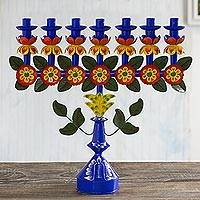 Recycled metal candelabra, 'Ayacucho Flora' - Charming Hand Painted Recycled Metal Candelabra