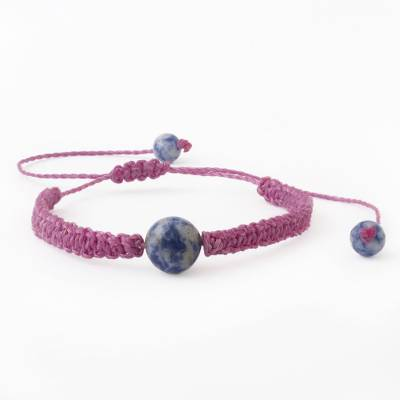 Sodalite unity bracelet, 'Magical Planet' - Andean Sodalite & Fuchsia Macrame Unity Bracelet