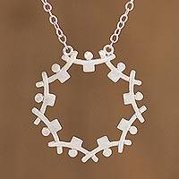 Sterling silver unity necklace, 'Regions in Union' - Andean Sterling Silver Pendant Unity Necklace
