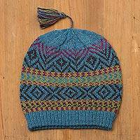100% alpaca hat, 'Inca Festival in Teal' - Heathered Teal Patterned 100% Alpaca Wool Knit Hat