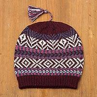 100% alpaca hat, 'Inca Festival in Wine' - 100% Alpaca Knit Hat from Peru