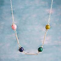 Multi-gemstone station necklace, 'Planetary Alignment' - Multi-Gemstone and Sterling Silver Station Necklace
