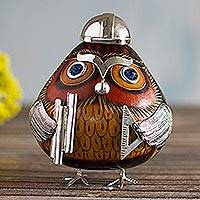 Sterling silver accent gourd figurine, 'Mr. Architect Owl' - Mr. Architect Dried Gourd Owl Figurine with Sterling Silver
