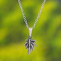 Sterling silver pendant necklace, 'Leaves of Nature' - Andean Leaf Nature Theme Sterling Silver Pendant Necklace