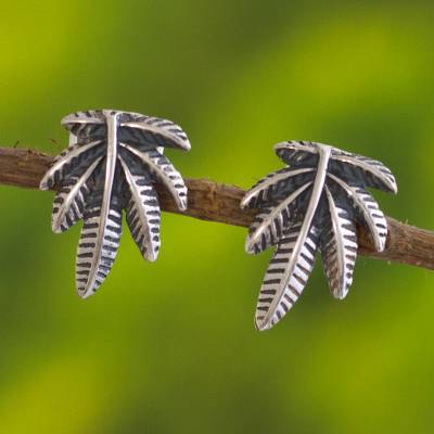Sterling silver button earrings, 'Leaves of Nature' - Andean Leaf Nature Theme Sterling Silver Button Earrings