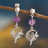 Amethyst dangle earrings, 'Moon Faerie' - Natural Amethyst Faerie Dangle Earrings