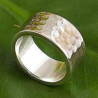 Sterling silver band ring, 'Well-Traveled Road' - Wide Hammered Sterling Silver Unisex Band Ring