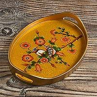 Reverse-painted glass tray, 'Birds of a Feather in Gold' - Bird and Flower Themed Reverse Painted Glass Tray