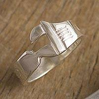 Men's sterling silver band ring, 'Wrenched' - Men's Sterling Silver Wrench Band Ring