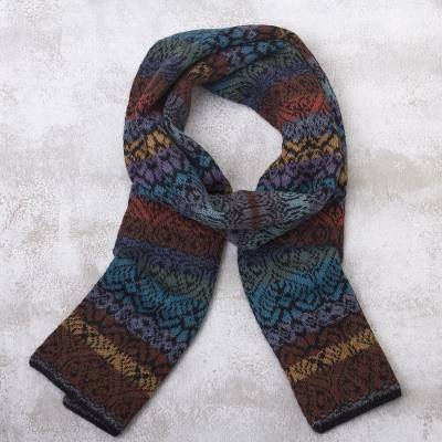 100% alpaca knit scarf, 'Cusco Cathedral' - Muted Multicolor Alpaca Knit Scarf from Peru