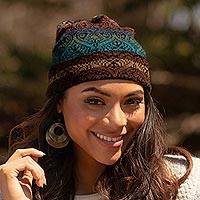 100% alpaca knit hat, 'Cusco Cathedral' - Women's Alpaca Knit Hat in Multicolor