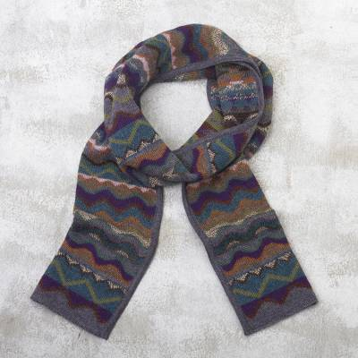 100% alpaca knit scarf, 'Mountain of Seven Colors' - Zigzag Striped Alpaca Wool Scarf from Peru
