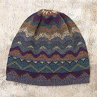 100% alpaca knit hat, 'Mountain of Seven Colors' - Multicolored Alpaca Wool Knit Hat for Women