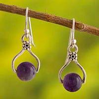 Amethyst dangle earrings, 'Floral Equilibrium' - Handcrafted Fine Silver Earrings with Amethyst