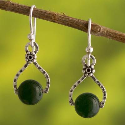 Agate dangle earrings, 'Textured Floral Equilibrium' - Handcrafted Textured Fine Silver Earrings with Green Agate