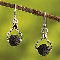 Volcanic stone dangle earrings, 'Textured Floral Equilibrium' - Textured Fine Silver Earrings with Black Volcanic Stone