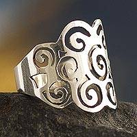 Silver band ring, 'Andean Clouds' - 950 Silver Band Ring from Peru