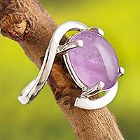 Amethyst cocktail ring, 'Aurora Glow' - Oval Amethyst Cocktail Ring Crafted in Peru
