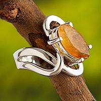 Citrine cocktail ring, 'Streams of Light' - Artisan Made Citrine and Andean Silver Cocktail Ring